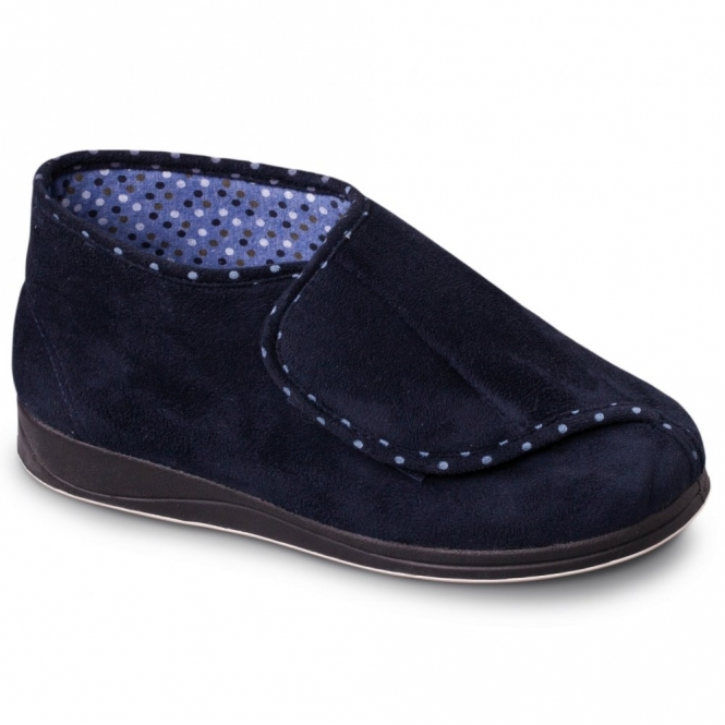 1a1c2ab136de CHERISH Ladies Microsuede Extra Wide (2E) Boot Slippers Navy