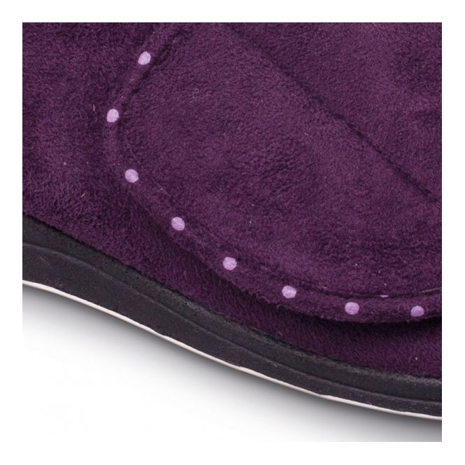 3f9015f826c5 CHERISH Ladies Microsuede Extra Wide (2E) Boot Slippers Purple