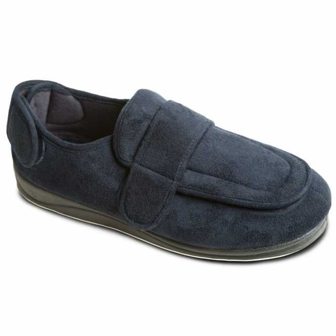 ed360173bfe9 WRAP Mens Microsuede Wide (G Fit) Full Slippers Navy
