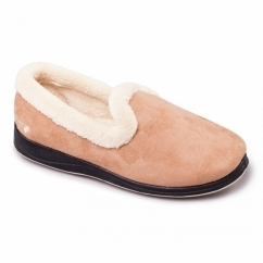 REPOSE Ladies Microsuede Extra Wide (2E) Full Slippers Camel