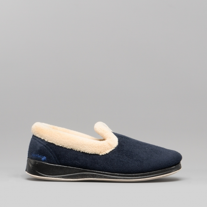 Padders ENFOLD Womens Ladies Touch Fasten Extra Wide Fitting Slippers Navy EE