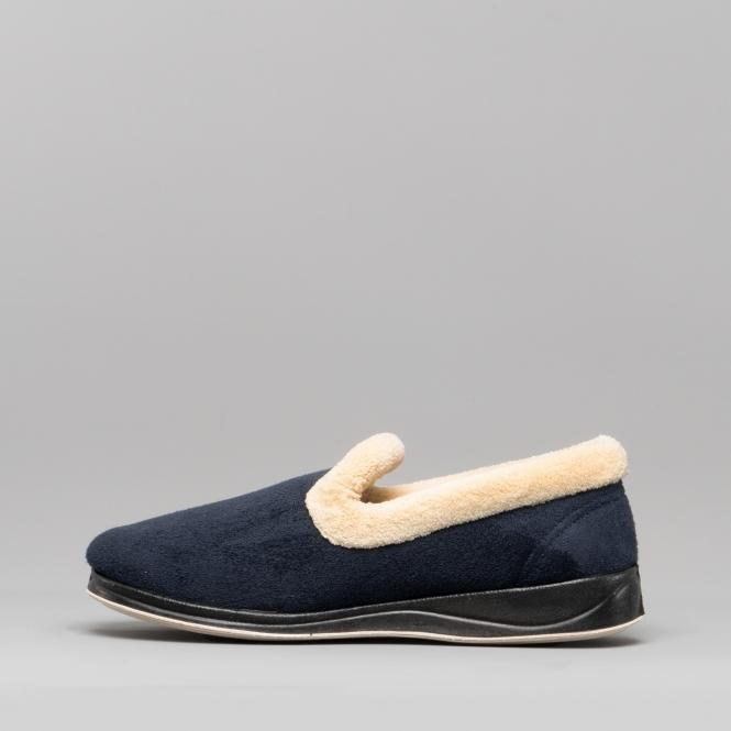 Padders REPOSE Ladies Memory Foam Comfy Extra Wide EE Fitting Slippers Navy