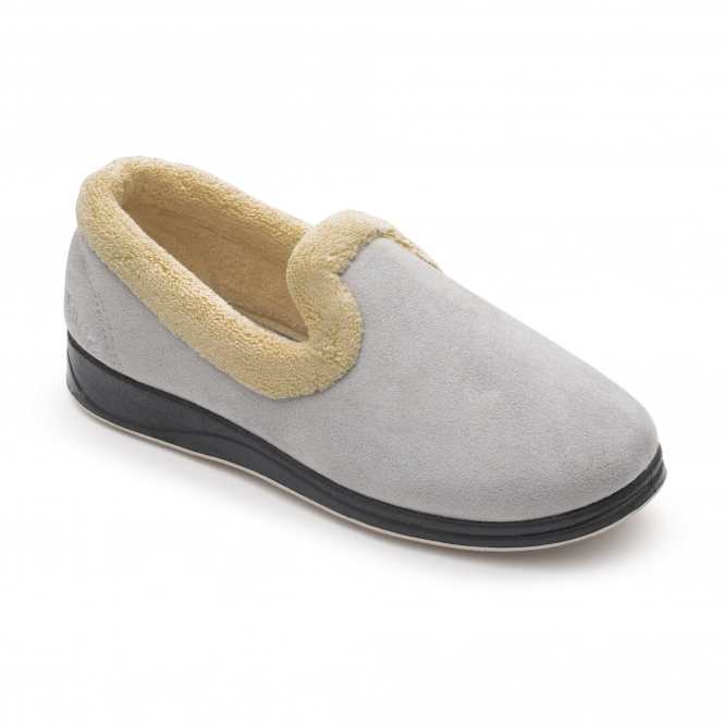 d1eebd41464e Padders REPOSE Ladies Microsuede Extra Wide (2E) Slippers Grey
