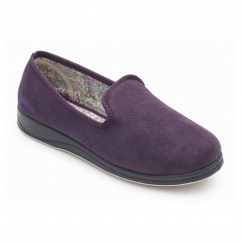 REPOSE Ladies Microsuede Extra Wide (2E) Slippers Purple