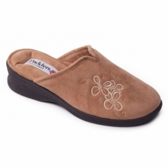 SABLE Ladies Microsuede Extra Wide (2E) Mule Slippers Camel