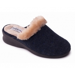 SCARLET Ladies Textile Extra Wide (2E) Mule Slippers Navy
