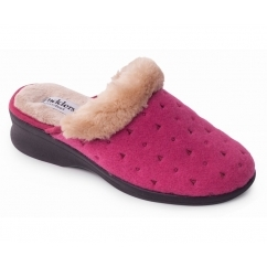 SCARLET Ladies Textile Extra Wide (2E) Mule Slippers Raspberry