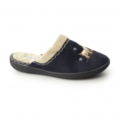 SCOTTY Ladies Microsuede Extra Wide (2E) Mule Slippers Navy