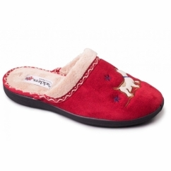 SCOTTY Ladies Microsuede Extra Wide (2E) Mule Slippers Red