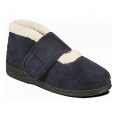 SILENT Ladies Microsuede Extra Wide (2E) Boots Navy