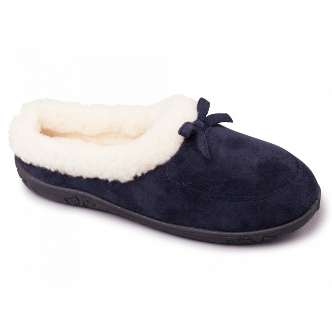 0e492a78cd5 SNUG Ladies Microsuede Extra Wide (2E) Slippers Navy