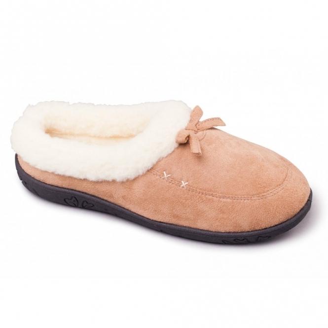 2f7fca51314b Padders SNUG Ladies Microsuede Extra Wide Fit Slippers Camel