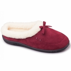 SNUG Ladies Microsuede Extra Wide (2E) Slippers Burgundy