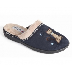 TABBY Ladies Microsuede Extra Wide (2E) Mule Slippers Navy