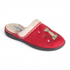 TABBY Ladies Microsuede Extra Wide (2E) Mule Slippers Red
