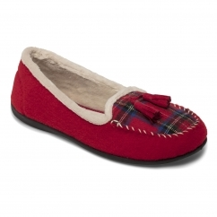 TASSEL Ladies Felt Wide (E Fit) Slippers Red