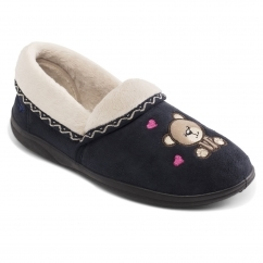 TEDDY Ladies Microsuede Extra Wide (2E) Slippers Navy