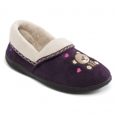 TEDDY Ladies Microsuede Extra Wide (2E) Slippers Purple