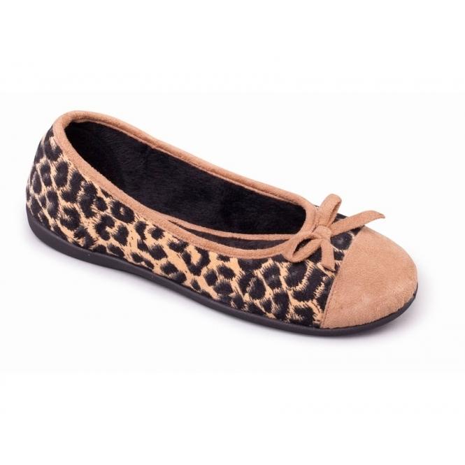 48b2cb171365 WILD Ladies Textile Wide Fit Ballerina Slippers Camel Fudge ...