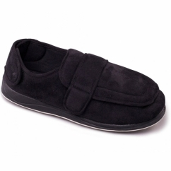 WRAP Mens Microsuede Wide (G Fit) Full Slippers Black