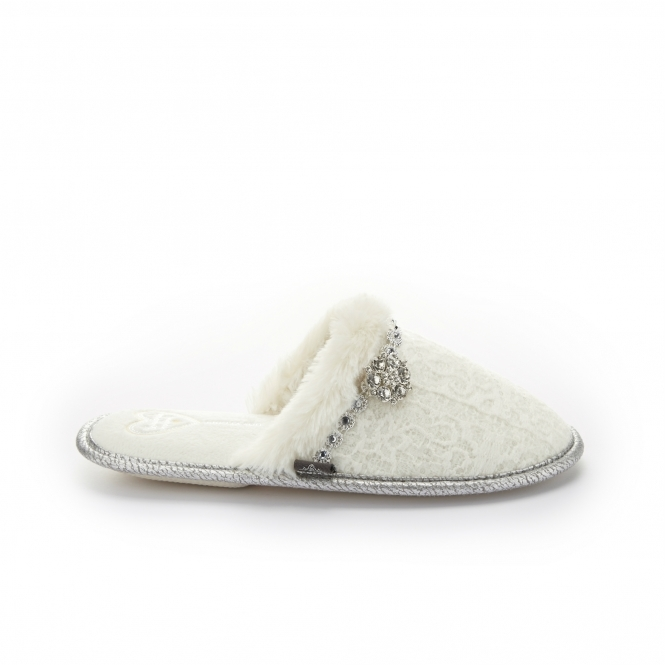 Pretty You London OPAL Ladies Mule Slippers White