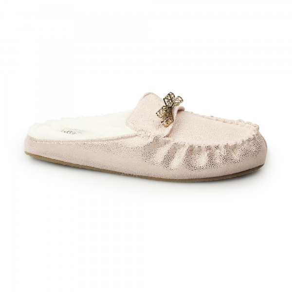 Pretty You London Rosa Ladies Moccasin Mules Pink House