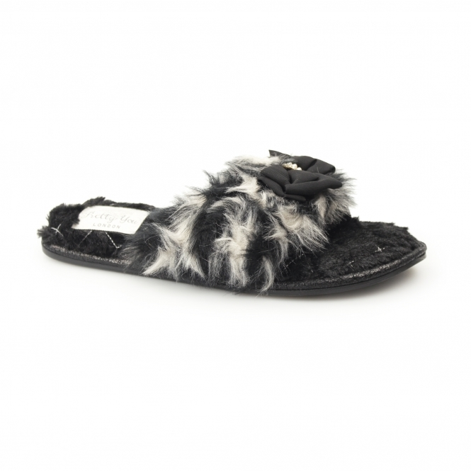 Pretty You London SAMMI Ladies Toe Post Slippers Black