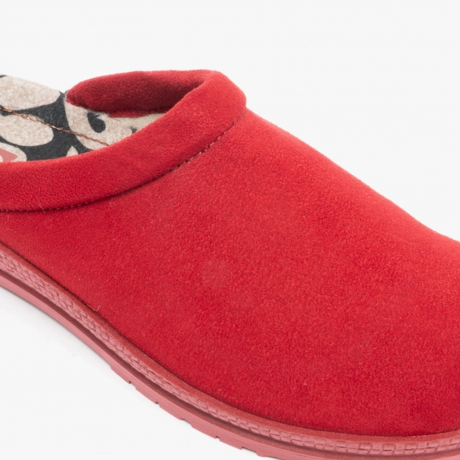 Rohde WOOLY Ladies Womens Warm Soft Textile Slip On Mule Slippers Sherry Red
