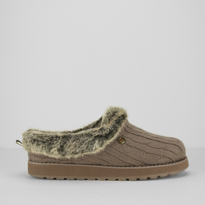 Skechers BOBS KEEPSAKES - ICE STORM Ladies Mule Slippers Taupe