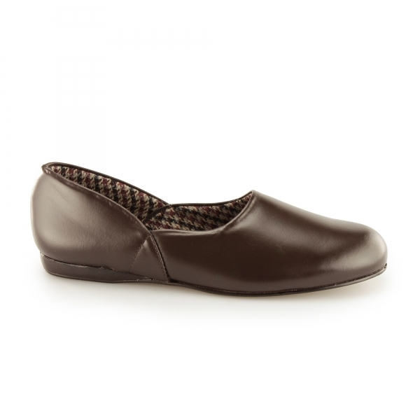 Sleepers Abraham Mens Leather Full Slippers Brown House