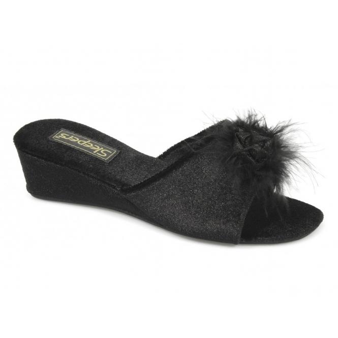 c9bc67f4d84 Sleepers ANNE Ladies Mule Slip On Slippers Black
