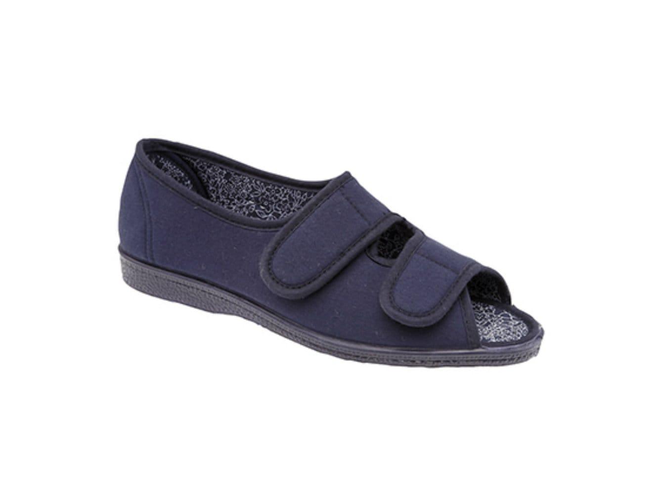 Cosies Womens Velcro Slippers Ladies Slippers Ladies Velcro Slippers Navy Size