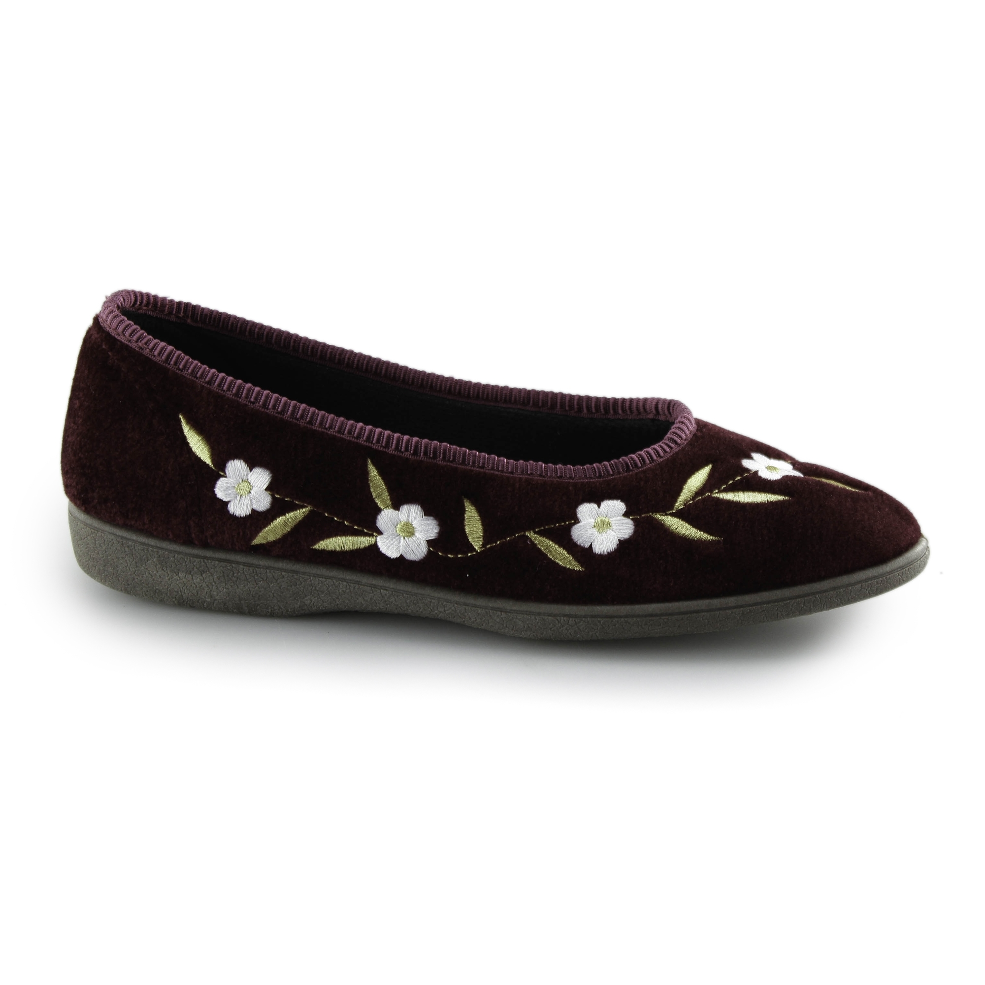 Dunlop CELIA Ladies Womens Touch Close Floral Comfort Warm Slippers Wine Red