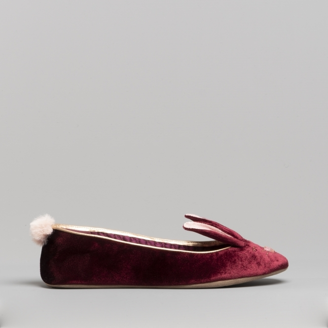 1297bc7d336 Ted Baker BHUNNI Ladies Velvet Ballerina Slippers Burgundy