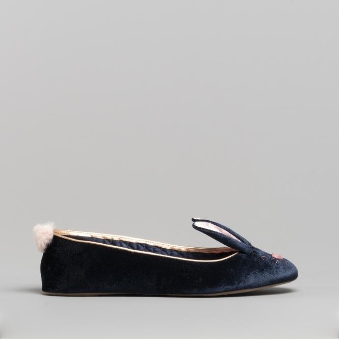 821bb031874fee Ted Baker BHUNNI Ladies Velvet Ballerina Slippers Navy