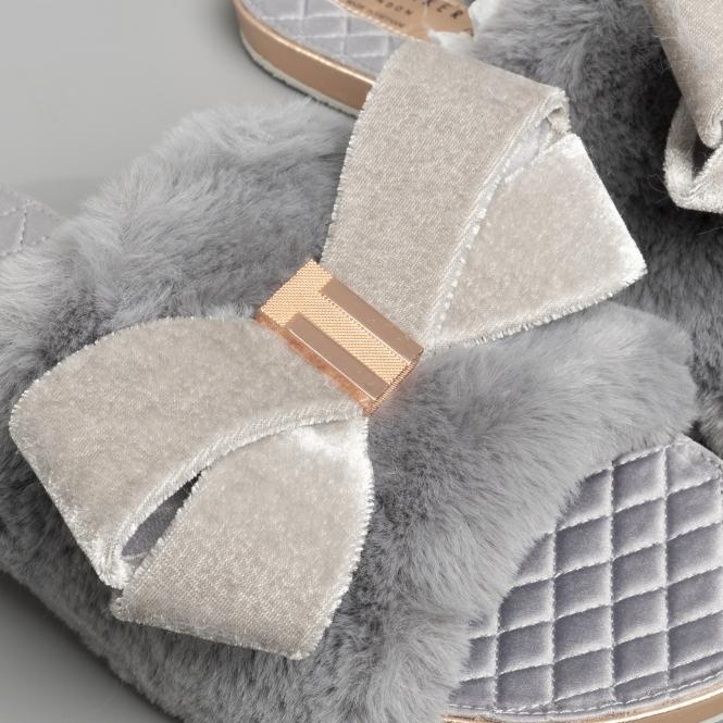 24d77497b76e9 Ted Baker BLINGS Ladies Faux Fur Mule Slippers Light Grey   House of ...