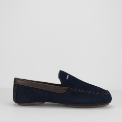 MORISS 2 Mens Suede Moccasin Slippers Dark Blue