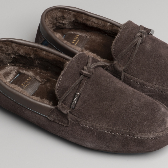 a4c5dbf02 Ted Baker VALCENT Mens Suede Moccasin Slippers Brown