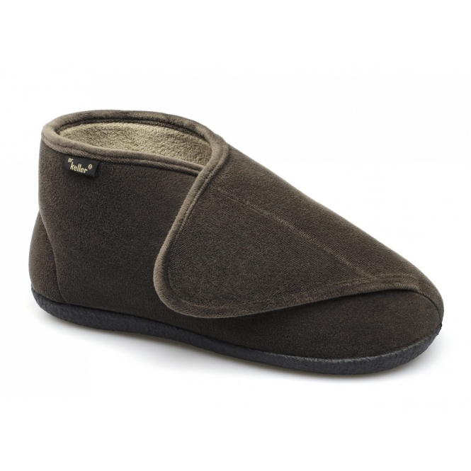 Dr Keller TERRY Mens Touch Fasten Boot Slippers Brown HouseofSlippers