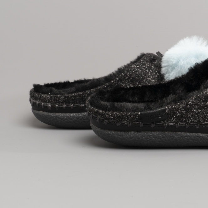 462783b8f48 TOMS IVY Ladies Pom Pom Mule Slippers Black