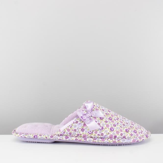 Totes Isotoner FLORAL Ladies Mule Slippers Lilac