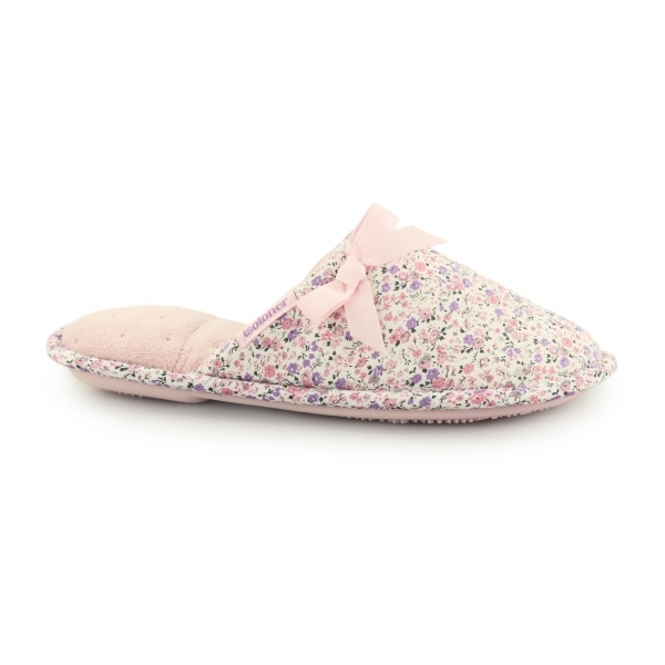 Totes Isotoner Floral Ladies Mule Slippers Pink House Of