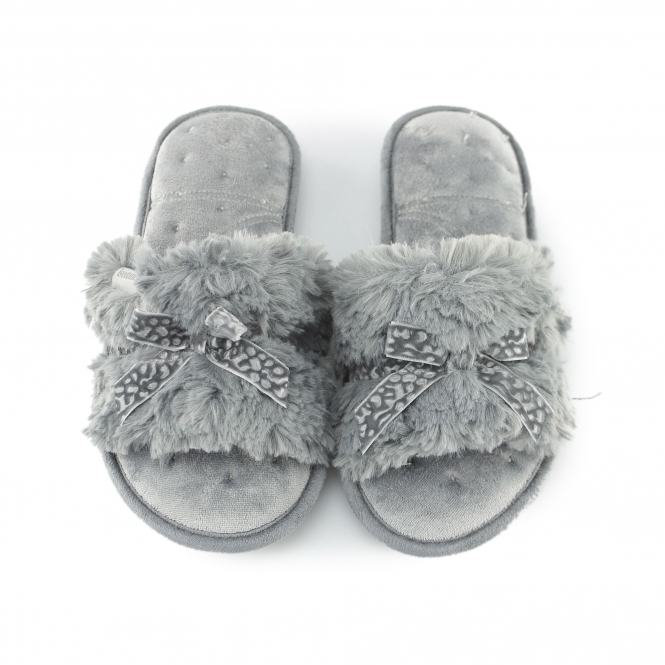 6cccbf61a229 Totes Isotoner FLUFFY SLIDER Ladies Slippers Grey