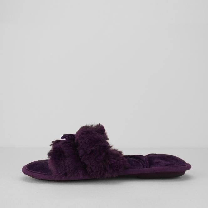 92689c41e3e2ac Totes Isotoner FLUFFY SLIDER Ladies Slippers Purple