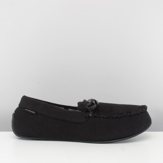 Totes Isotoner JERSEY CHECK Mens Moccasin Slippers Black