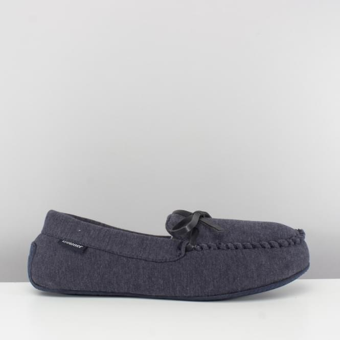 Totes Isotoner JERSEY CHECK Mens Moccasin Slippers Navy