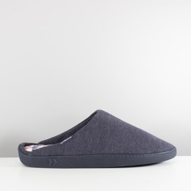 Totes Isotoner JERSEY CHECK Mens Mule Slippers Navy