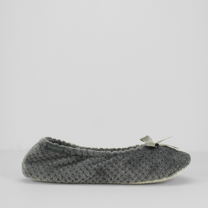 a7059215b788 Totes Isotoner POPCORN Ladies Ballet Slippers Grey | House of Slippers