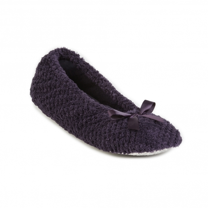 66d0448ecb1a Totes Isotoner POPCORN Ladies Ballet Slippers Plum | HouseofSlippers