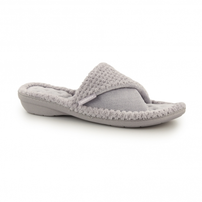 Totes Isotoner Popcorn Ladies Mule Slippers Grey House